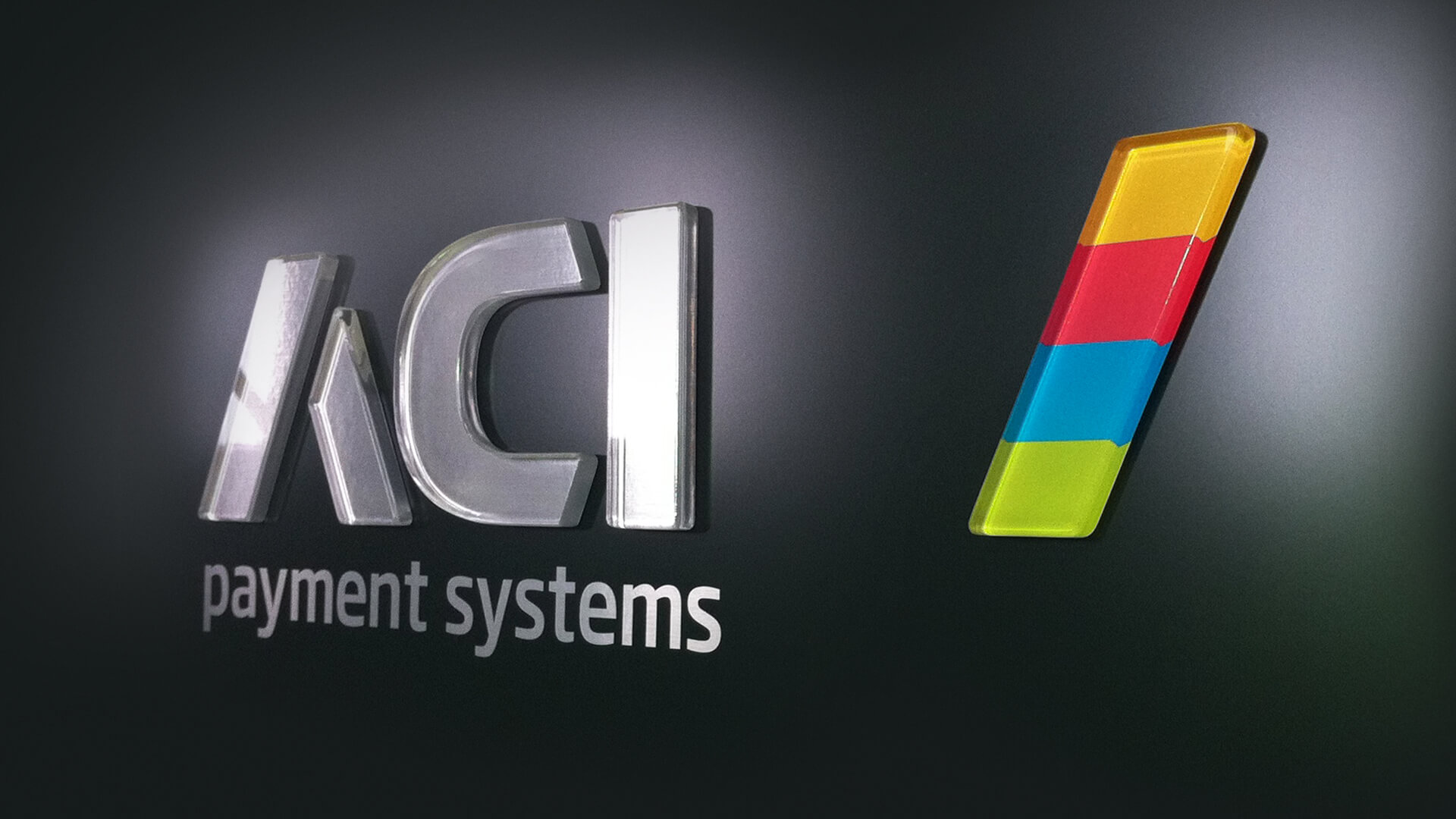 ACI payment systems brand identity messaging logo design signage office branding