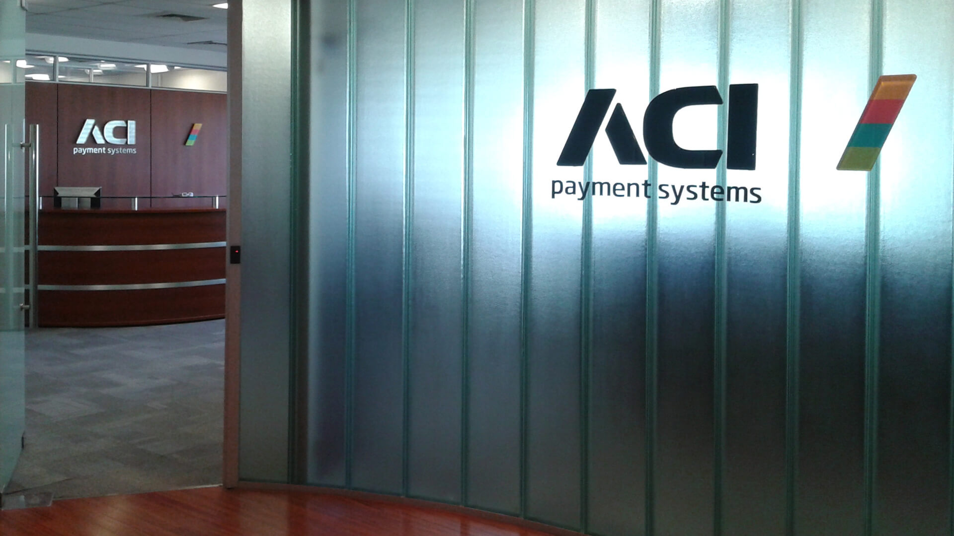 ACI payment systems brand identity messaging logo design signage