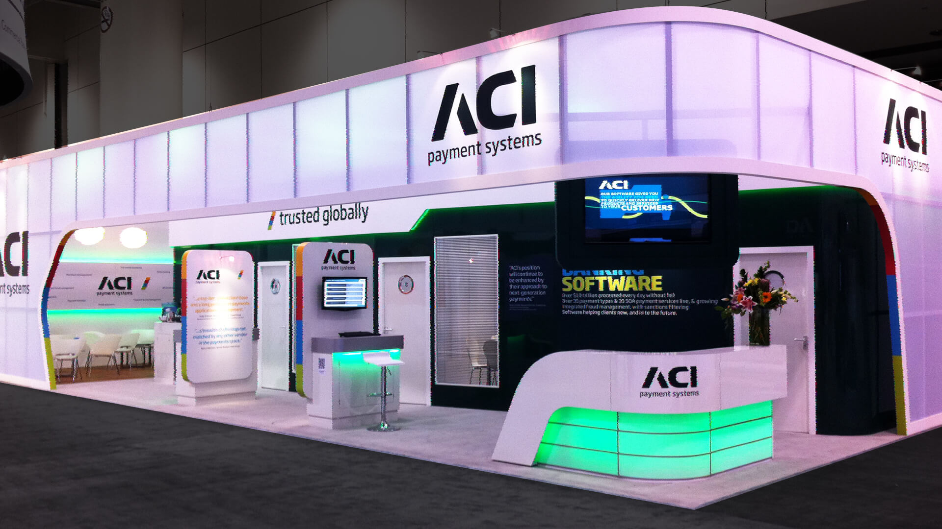 ACI payment systems brand identity messaging exhibtion stand design