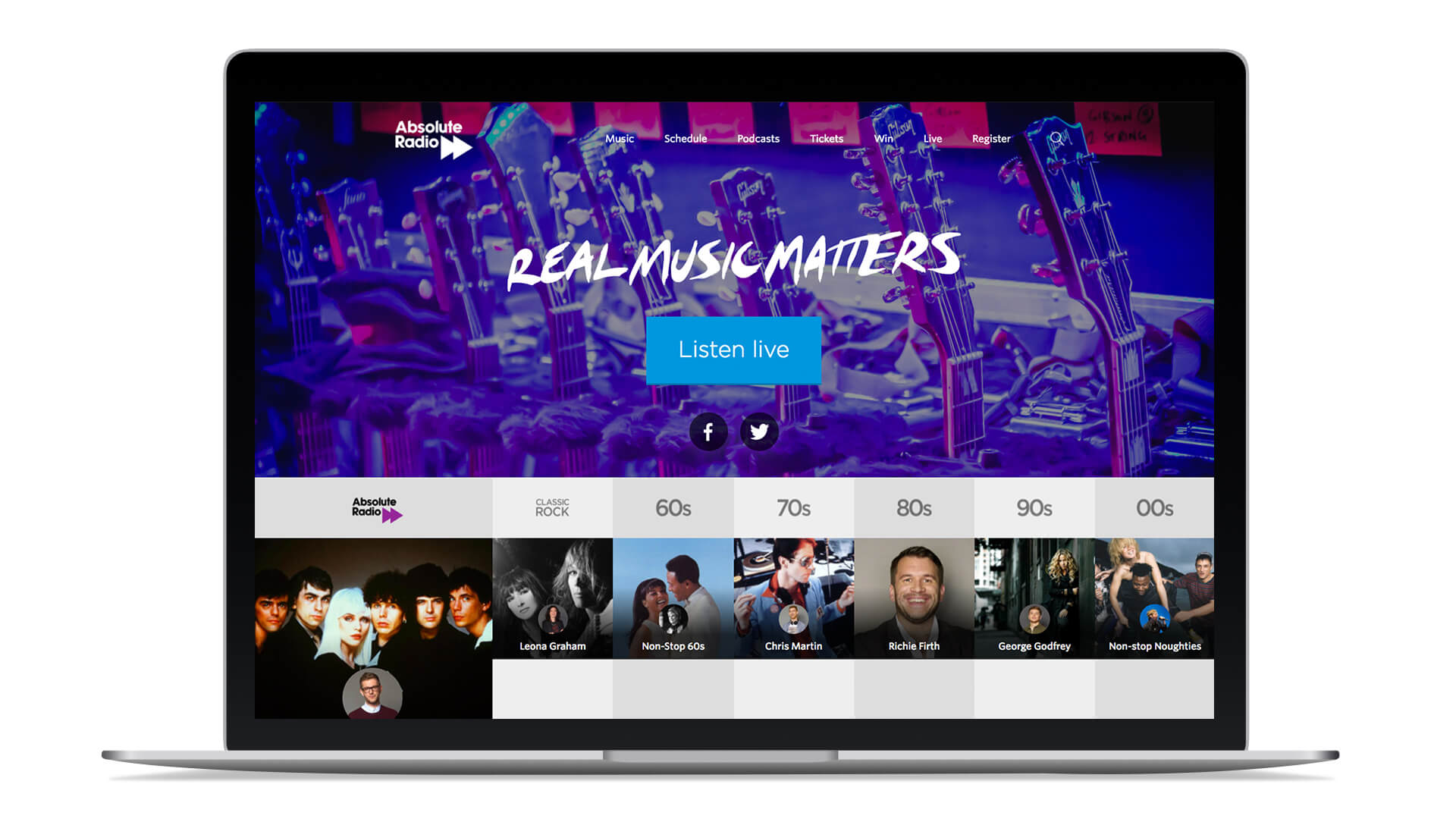 Absolute radio brand website refresh template design