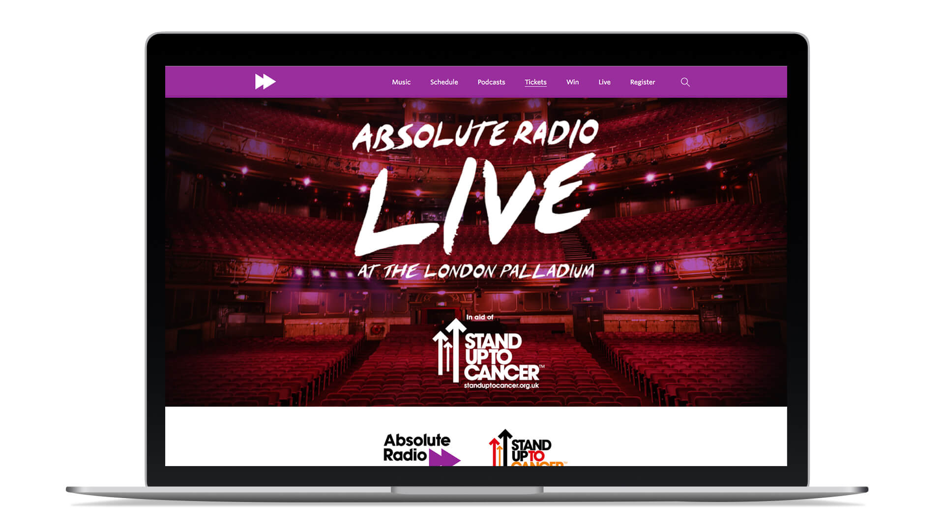 Absolute radio brand identity web site design home page