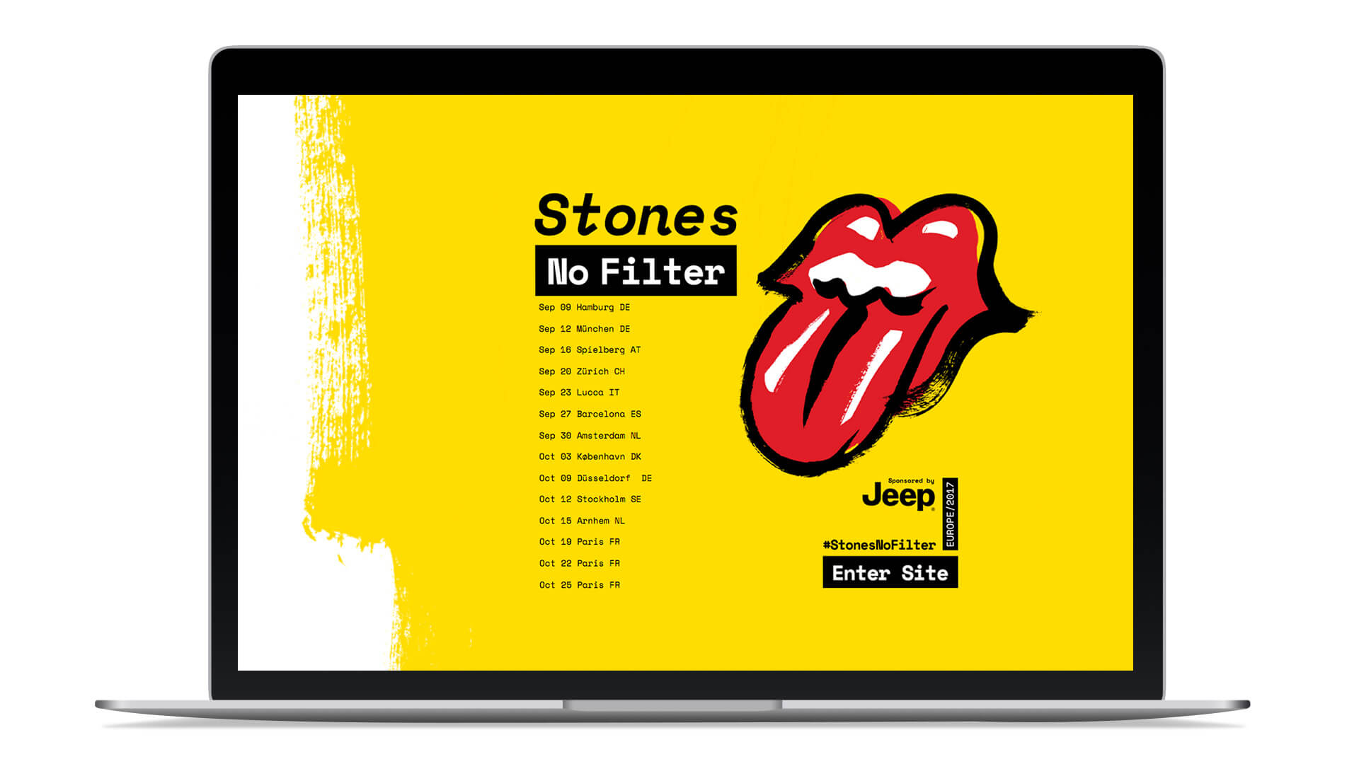 rolling stones no filter tour website graphics