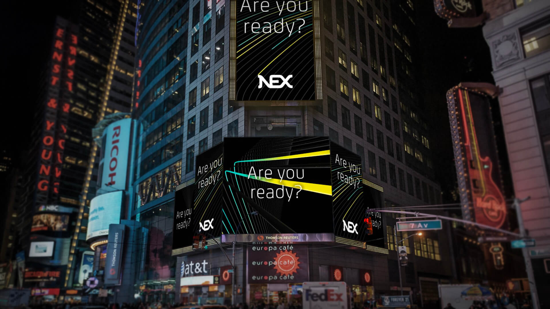 nex brand launch times square animated digital ads