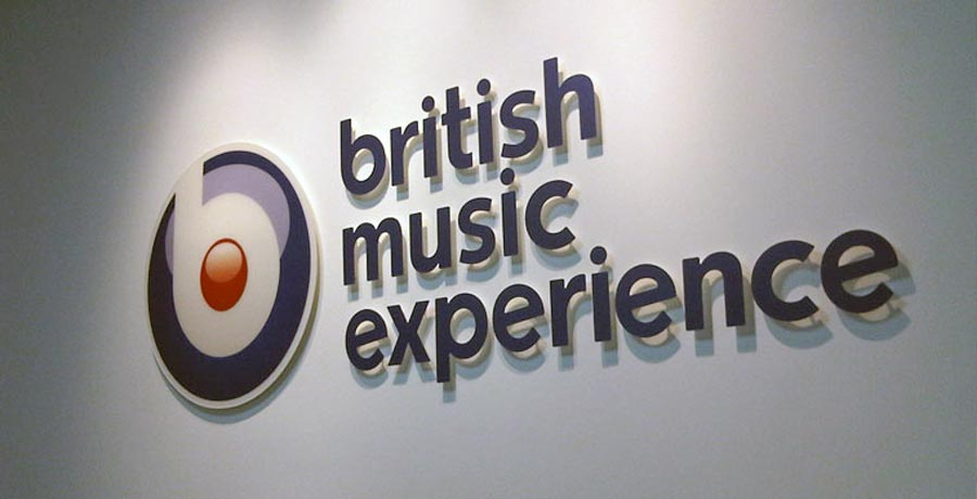British music experience main signage design