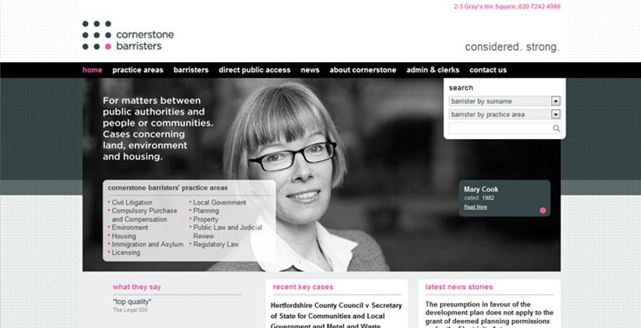 cornerstone barristers naming website design