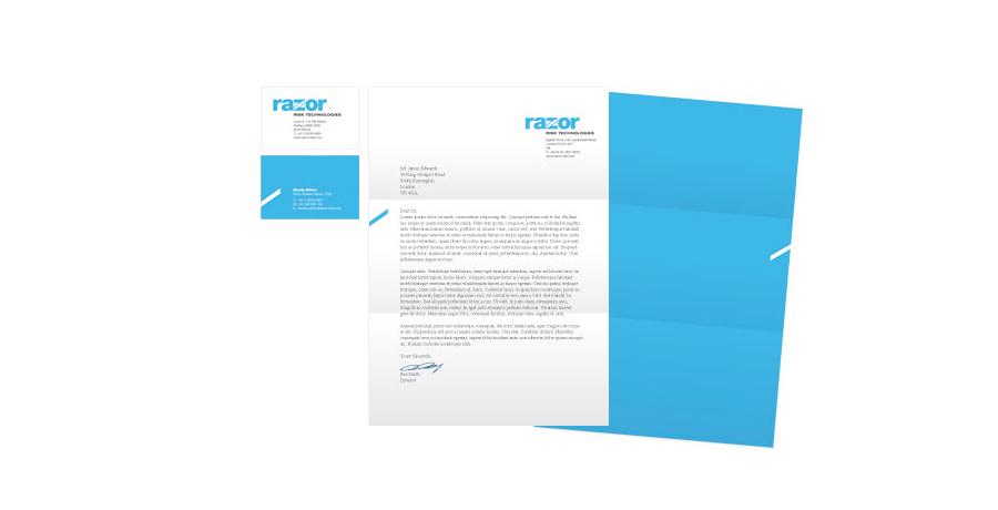 razor risk website rebranding stationery