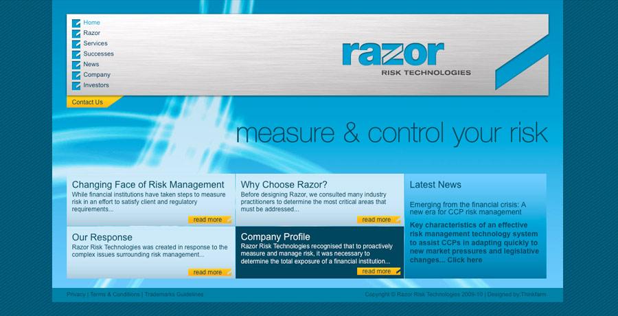 razor risk website design